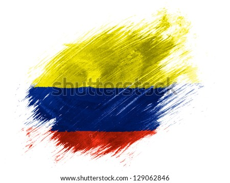 Colombia. Colombian flag  painted with brush on white background - stock photo