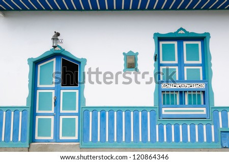 Colombia, Colorful Spanish colonial style house in Salento, Colombia���´s coffee growing region, (UNESCO) - stock photo
