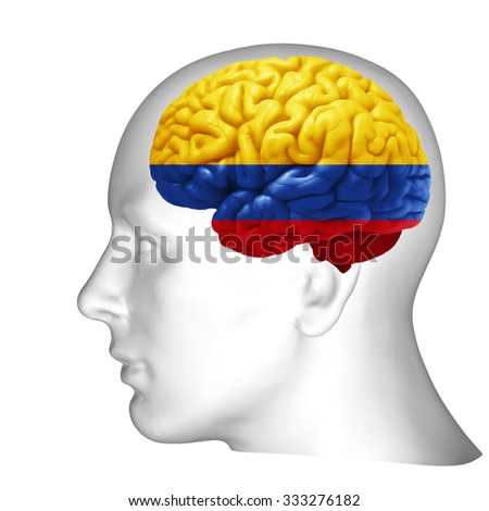 Colombia  flag, human head with brain and white  background