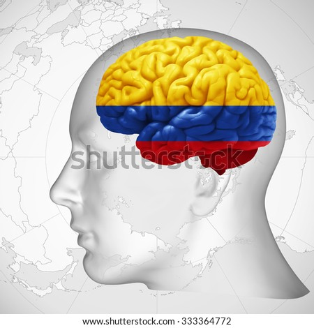 Colombia flag, human head with brain and world map  background