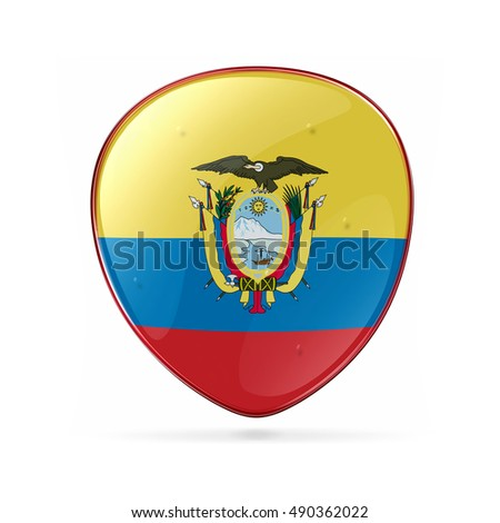 Colombia Flag Icon, isolated on white background.