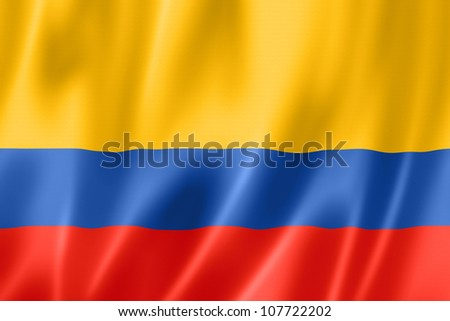 Colombia flag, three dimensional render, satin texture - stock photo