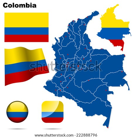 Colombia set. Detailed country shape with region borders, flags and icons isolated on white background. - stock photo