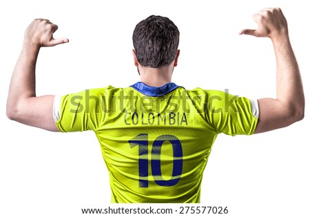 Colombian soccer player on white background - stock photo