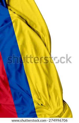 Colombian waving flag on white background - stock photo