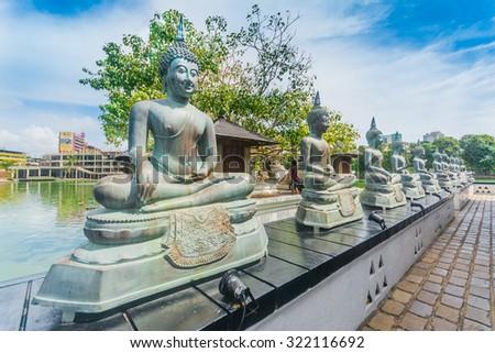 Colombo Gangarama seemamalaka buddhist temple.  - stock photo