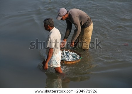 COLOMBO, SRI LANKA - MARCH 1: Two fishermen carrying a basket of fish in the lagoon near the fish markets of Negombo, near Colombo, Sri Lanka on the 1st March, 2014.