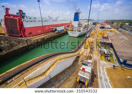 COLON, PANAMA - APRIL 15, 2015: Gatun Locks, Panama Canal. This is the first set of locks situated on the Atlantic entrance of the Panama Canal. - stock photo