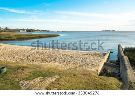 Colonia on the calm waters of  Rio de la Plata, Uruguay - stock photo