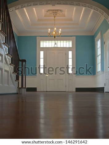 Colonial American style entrance way - stock photo