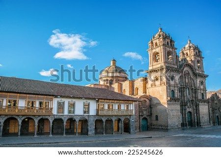 Colonial architecture and stunning church on the Plaza de Armas in Cuzco, Peru