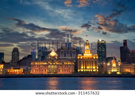 Colonial architecture at The Bund, Shanghai, China - stock photo