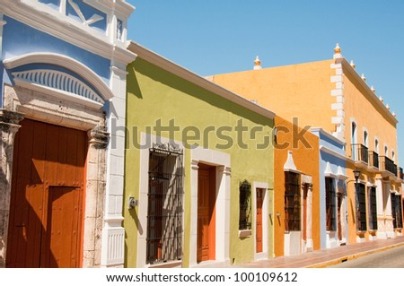 Colonial architecture in Campeche (Mexico) - stock photo