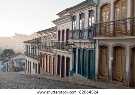 Colonial architecture in historic city of Ouro Preto, Brazil - stock photo