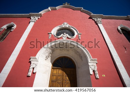 colonial architecture of a mexican church in saltillo - stock photo