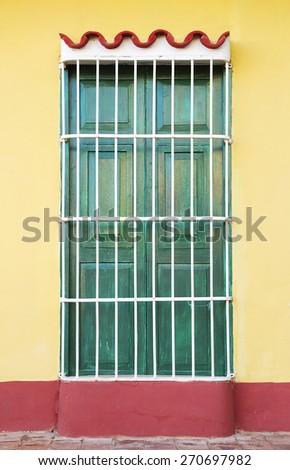 Colonial architecture of Cuba, Trinidad windows - stock photo