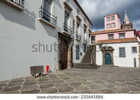 Colonial architecture of Funchal historic old town, Madeira island, Portugal - stock photo