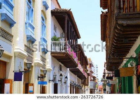 Colonial buildings and balconies in the historic center of Cartagena, Colombia - stock photo