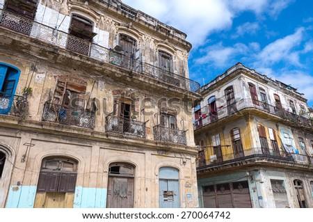 Colonial buildings in Old Havana, Cuba - stock photo