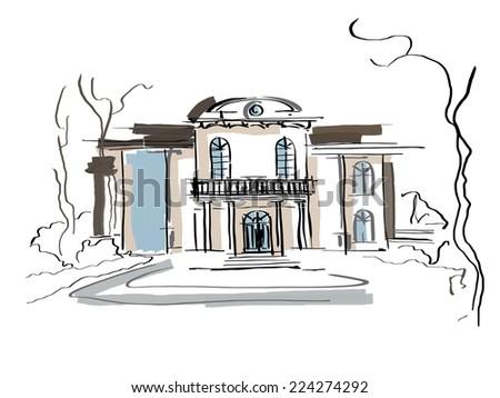 Colonial house black white sketch - stock photo