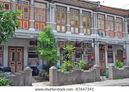 Colonial Houses, Georgetown, Penang, Malaysia - stock photo