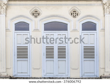 Colonial old building facade shop house on Little India, Singapore - stock photo