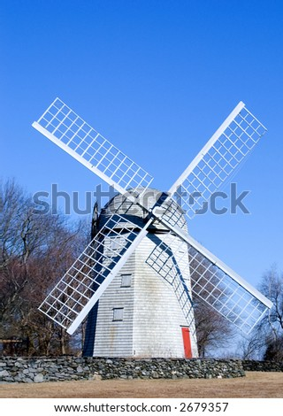 Colonial Windmill in Winter - stock photo
