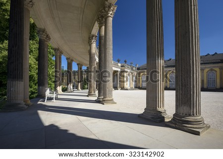 Colonnade from the 18th century in Potsdam park Sanssouci, Germany