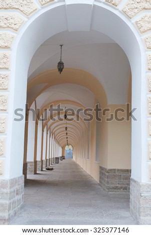 colonnade in a building on the street