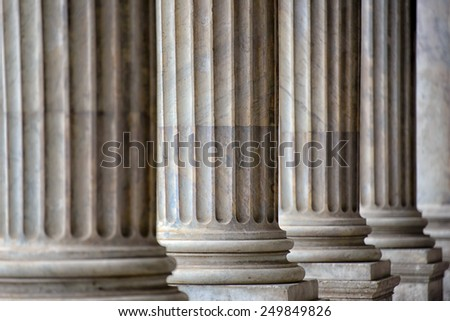 Colonnade in Rome close up