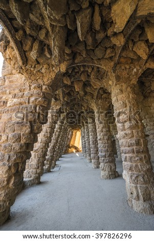 Colonnade in the Park Guell in Barcelona, Spain. - stock photo