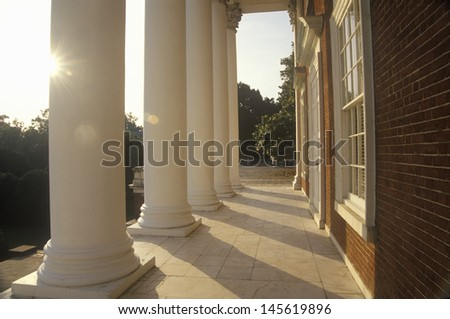 Colonnade of a building in the campus of University of Virginia in Charlottesville, VA - stock photo