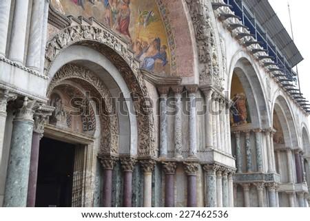 Colonnade of the Basilica di San Marco in Venice, Italy. - stock photo