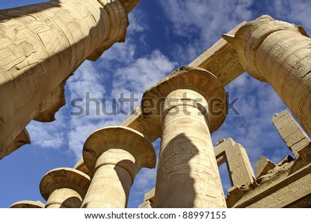 Colonnade of the hypostyle hall in the Temple of Amun-Ra in Karnak. Thebean Vally, Luxor, Egypt, UNESCO World Heritage Site - stock photo