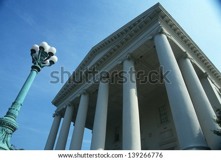Colonnade of the State Capitol of Virginia in Richmond, VA - stock photo