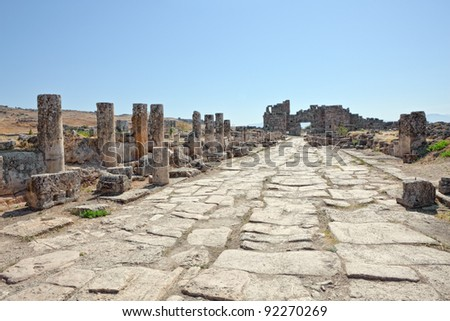 Colonnade remains of Frontinus street near Agora from Roman time city Hierapolis, Pamukkale, Turkey.