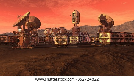 Colony on a Mars like red planet, with crate pods, satellite dishes and a moon on a dusty sky, for planetary and space exploration backgrounds. - stock photo