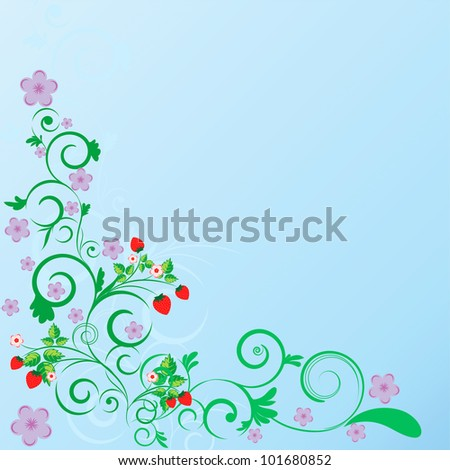 Color abstract summer floral curls pattern on blue background