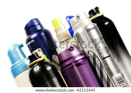Color aerosols isolated on white background - stock photo