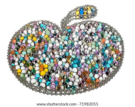 Color apple from varicolored balls on a white background - stock photo