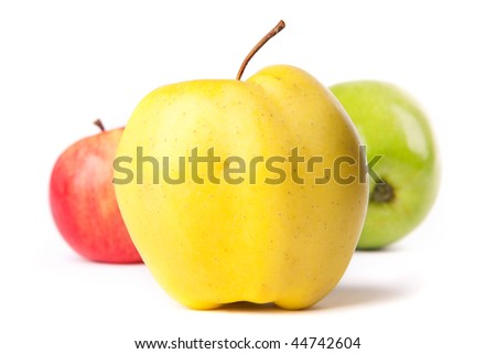 color apples on a white