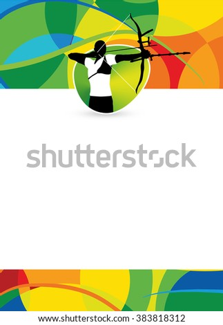 Color archery sport flyer or poster background with empty space - stock photo