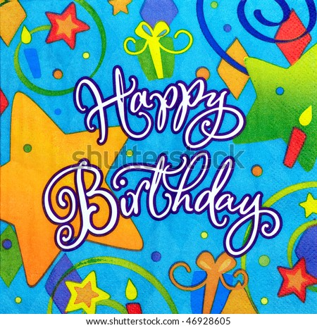 color background of happy birthday message - stock photo