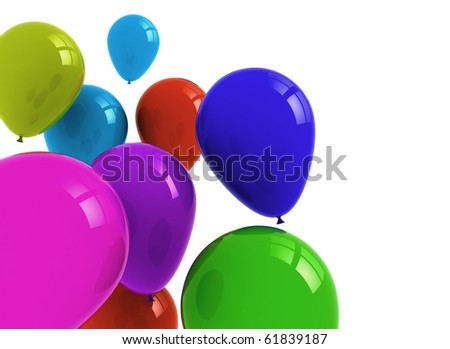 Color balloons isolated on white - stock photo