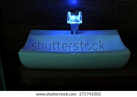 Color basin mixer - stock photo