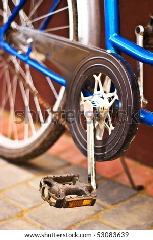 color bike, small parts of bike in sunny day, bike series - stock photo