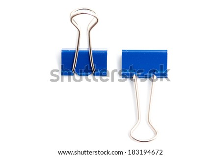 color binder clips isolated on white background - stock photo