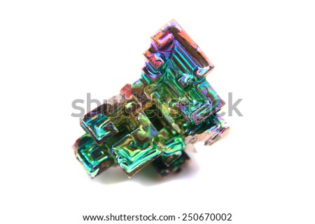color bismuth crystal isolated on the white background  - stock photo