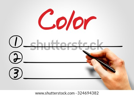 Color blank list, business concept