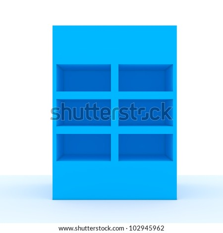 Color blue shelf design with white wall - stock photo